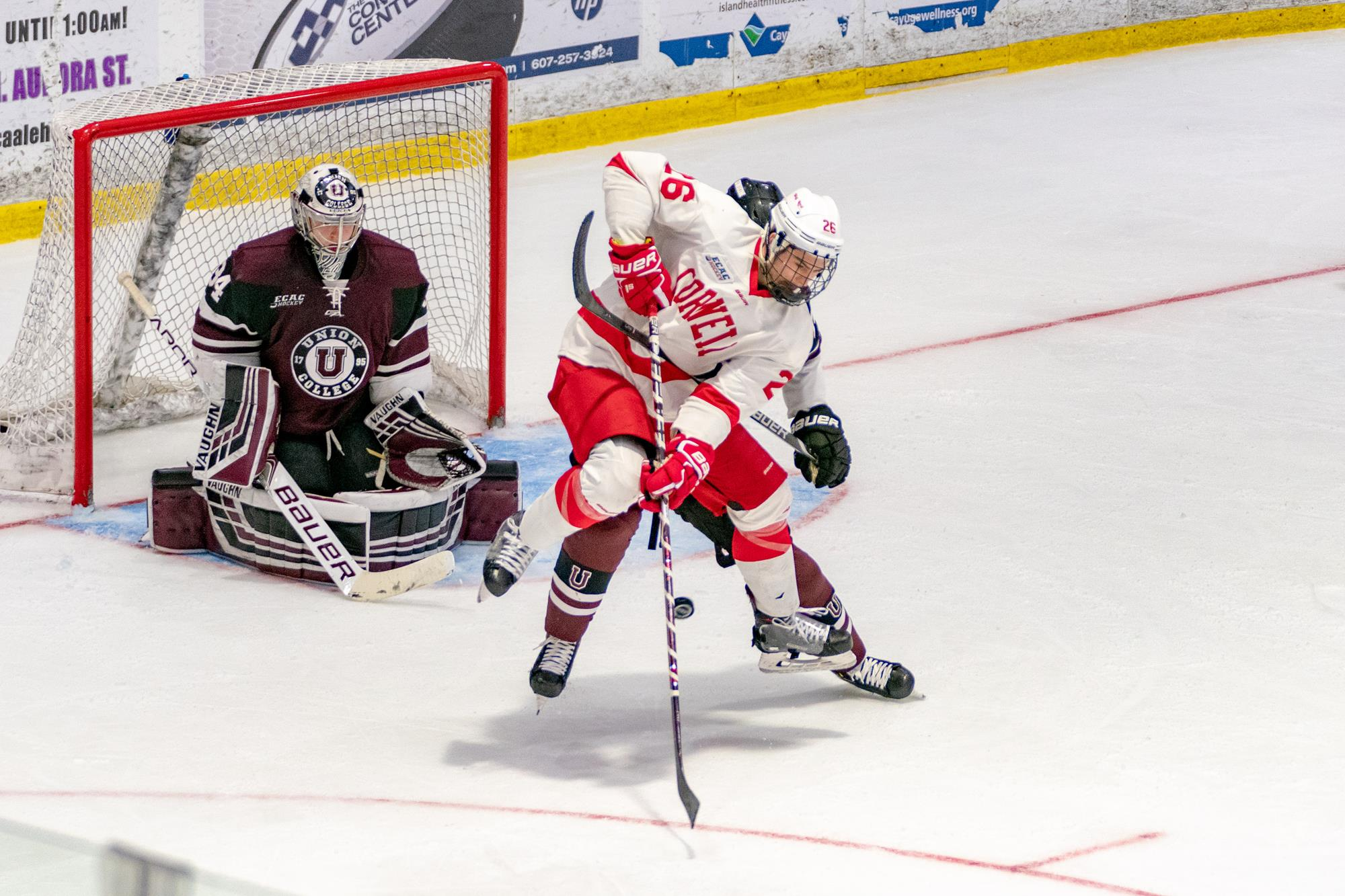 Tristan Mullin redirects a shot from the slot during the Cornell Big Red men's ice hockey team's 4-0 victory over Union in Game 2 of an ECAC Hockey Championship quarterfinal series on March 16, 2019 at Lynah Rink in Ithaca, N.Y. (Dave Burbank/Cornell Athletics)