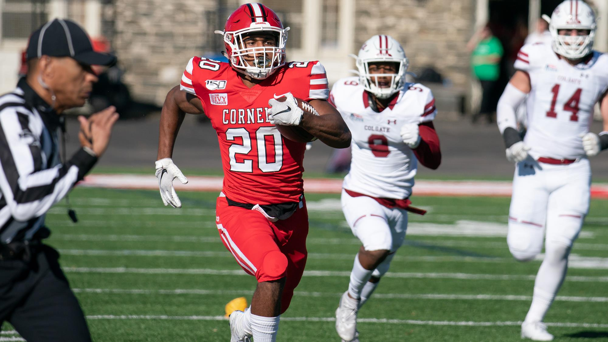 Harold Coles rushes up the sideline during the first half of the Cornell football team's non-league game against Colgate on Oct. 19, 2019 at Schoellkopf Field in Ithaca, N.Y. (Dave Burbank/Cornell Athletics)