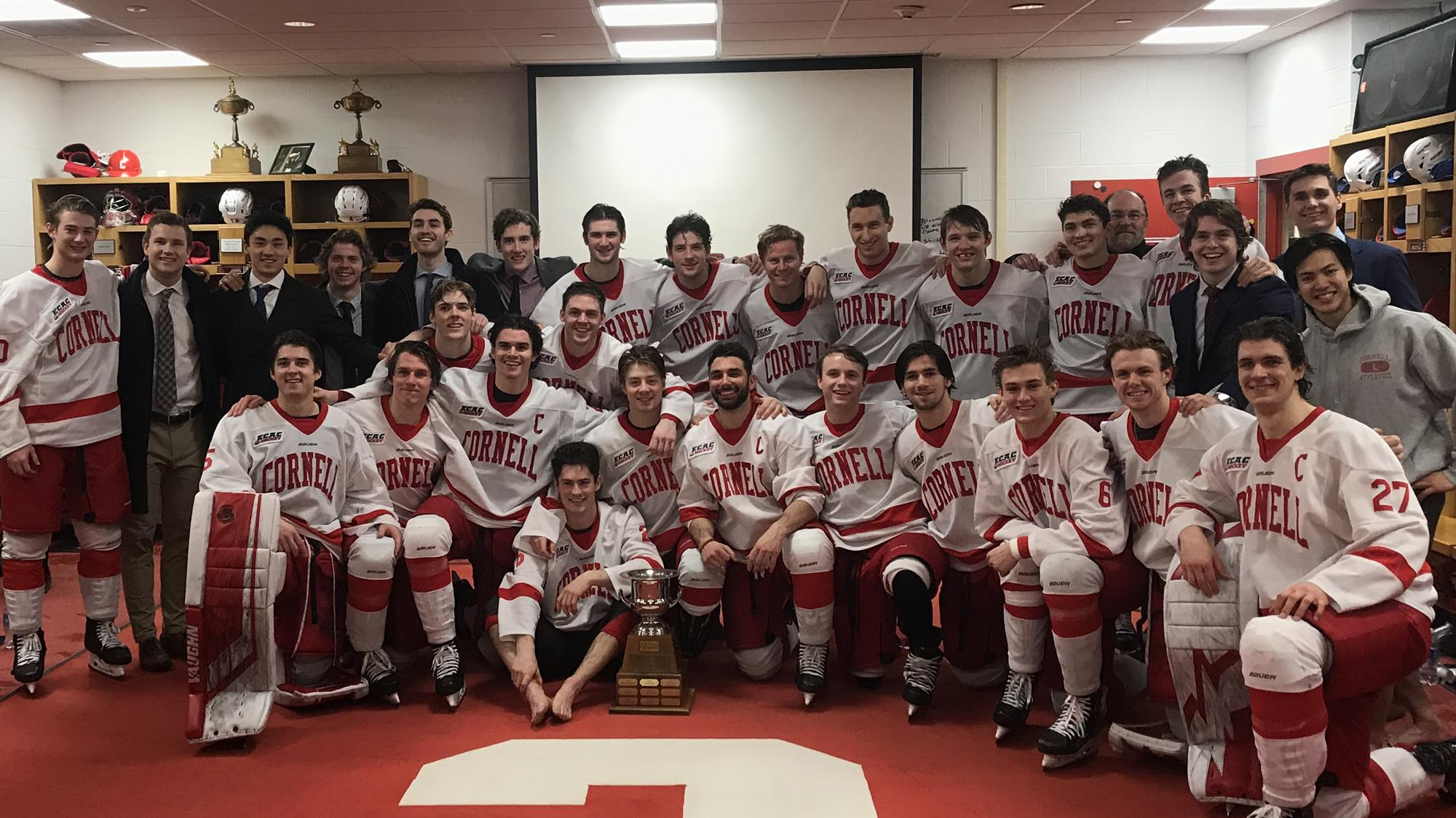 The Cornell men's hockey team celebrates winning the Cleary Cup on Feb. 28, 2020 after a 5-0 rout of St. Lawrence at Lynah Rink in Ithaca, N.Y.