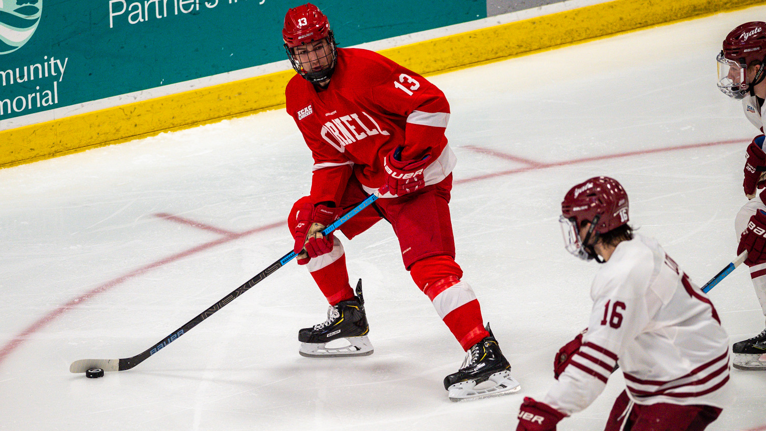 Jack Malone looks to move the puck during the Cornell men's hockey team's 4-1 victory over Colgate on Feb. 8, 2020 at Class of 1965 Arena in Hamilton, N.Y. (Justin Wolford/Colgate Athletics)