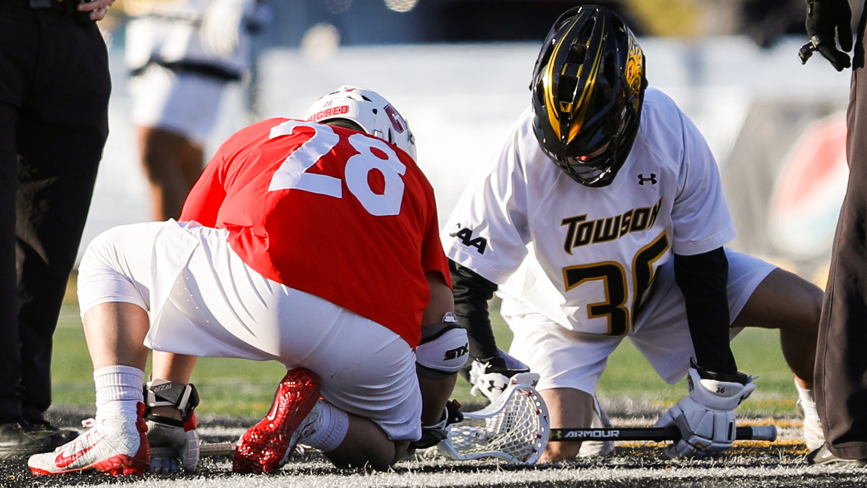Angelo Petrakis takes the face-off during the Cornell Big Red men's lacrosse team's contest against Towson on the road on Feb. 21, 2020, in Baltimore, Md.